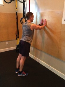 Starting position for wall push up.