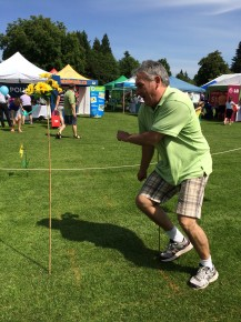 """LVLife sponsoring realtor Kelly Gardiner took a (sadly unsuccessful) run at top time for the SuperKids Obstacle Course Masters category. He was doing well until it was time to """"skip his age""""!"""