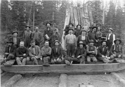 Crew of Lynn Valley Lumber Co. Mill on skid road, 1906. Courtesy NV Museum & Archives.
