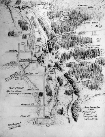 Lynn Valley in 1946, as drawn by Mr. Walter Draycott. Courtesy North Shore Museum and Archives.